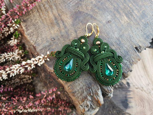 eleganckie kolczyki sutasz zielone