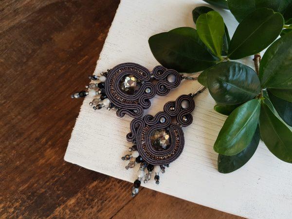 wiszące kolczyki sutasz szare z kryształkami