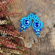 wiszące kolczyki sutasz niebieskie z koralikami