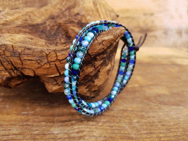 bransoletka owijana wrap niebieska