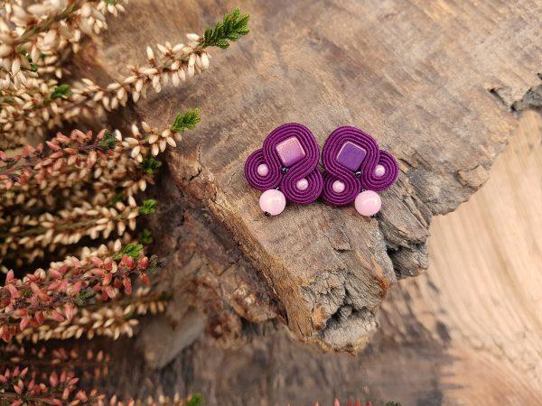 kolczyki sutasz fioletowe sztyfty